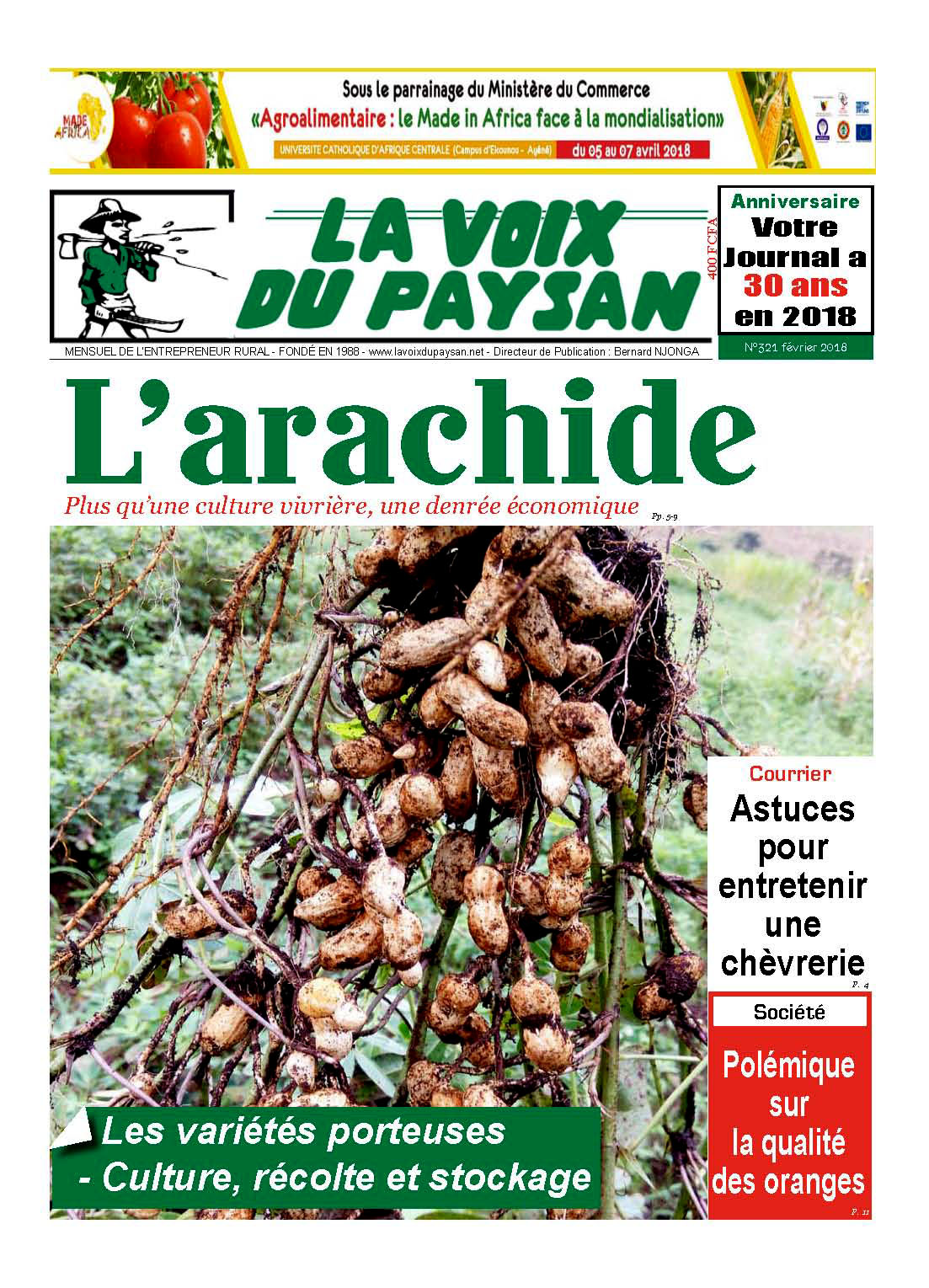 lvdp n°321 février 2018 : l'arachide - la voix du paysan